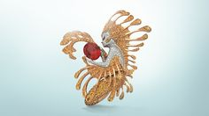 Spinel Néréide clip, L'Atlantide collection, Van Cleef & Arpels  White gold, diamonds, orange-pink oval spinel, pink gold, yellow sapphires
