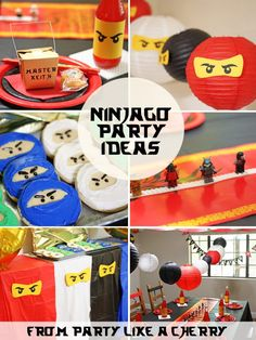 Ninjago Party Ideas - Party Like a Cherry. DIY Ninja and Ninjago party ideas and free printable. Decorations, activities, games and more! Kids Party Themes, Party Activities, Ideas Party, Ninja Birthday Parties, 5th Birthday, Birthday Ideas, Lego Parties, Ninjago Party, Lego Ninjago