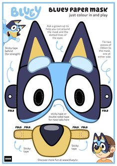 Make this awesome Bluey mask with your kids in a snap! Dog Birthday, Third Birthday, 3rd Birthday Parties, Birthday Bash, Birthday Ideas, Disney Junior, Abc For Kids, Baby Shower, Party Themes
