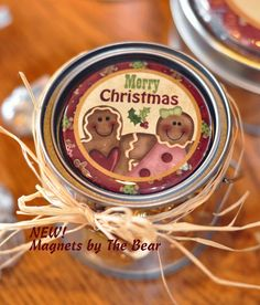 """2 1/4"""" Gingy Pair Merry Christmas Magnet on top of a very small pail with metal lid that I found at a craft store!"""