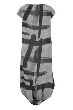 Monochrome Brushstroke Linen Dress