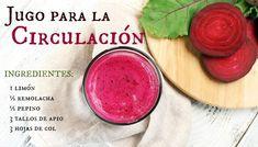 Jugos y licuados para mejorar la circulación Heart Circulation, Jugo Natural, Healthy Smoothies, Juice, Food And Drink, Healthy Eating, Healthy Recipes, Fruit, Vegetables
