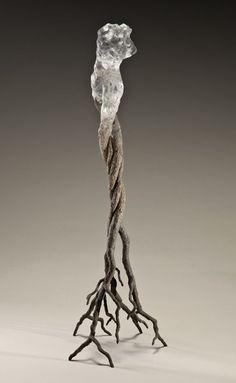 """Les corps sylvestres I (2009) // Cristal moulé à la cire perdue, pulpe de papier, pigments 73 cm x 23 cm x 24cm / Lost wax cast crystal, paper pulp, pigments, 29"""" x 9"""" x 9.5"""""""