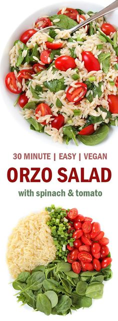 EASY, healthy, 30-minute Orzo Salad with Spinach and Tomato! Only 7 ingredients and a great make-ahead vegan dish! #vegan #orzo #plantbased