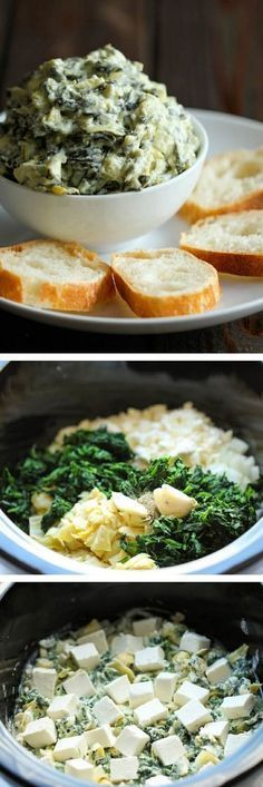 "SLOW COOKER SPINACH AND ARTICHOKE DIP ""Simply throw everything in the crockpot for the easiest, most effortless spinach and artichoke dip – it doesn't get easier than that!"" 