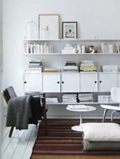 i've always loved black (black a little more), but this really makes me love white, too. Love the alternating direction the cabinets open & the bell jars on the shelf.