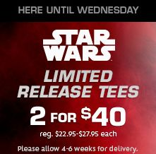 Star Wars Force Friday T Shirt Deals at the Disney Store 2 for $40