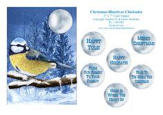 Christmas Bluetit Chickadee - 5 x 7 Card Topper & Assorted Greetings by DigitalHeaven on Etsy