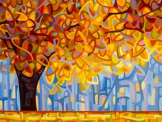 October Gold by Mandy Budan, 2013 / art painting landscape abstract sunlight tree fall autumn maple gold red