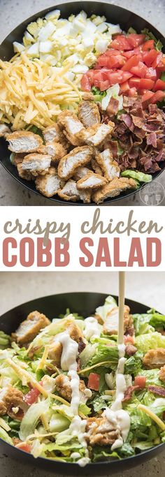 Crispy Chicken Cobb Salad - This cobb salad is packed full of sweet tomatoes, crunchy bacon, shredded cheese, boiled eggs, and crispy chicken.