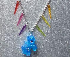 Spikey Glitter Rainbow Dash Necklace