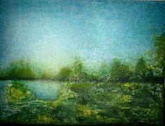 """""""Naturen våkner"""" Akryl m/ struktur på lerret - 27 x 35 cm (himmelen er litt mer turkisfarget enn jeg klarte å få frem med kamera)"""