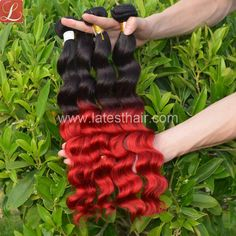 #1b/red,black red ombre hair weaves, loose wave two tone human hair,shop from www.latesthair.com/ Ombre Hair Weave, Red Ombre Hair, Natural Hairstyles, Weave Hairstyles, Coco Hair, Ombre Human Hair Extensions, Hair Color Formulas, Hair Addiction, Silver Grey Hair