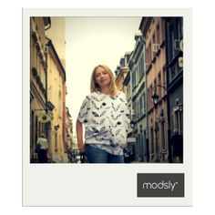 white shirt with feather print from MODSLY collection 2015
