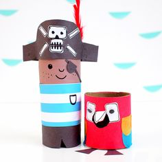 Arrrgh me harties! Two awesome pirate toilet roll crafts who love sailing the seven seas and having adventures in their cardboard pirate ship!