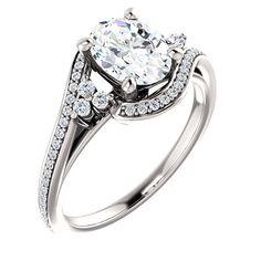 1.25 Ct Oval Diamond Engagement Ring 14k White Gold – Goldia.com