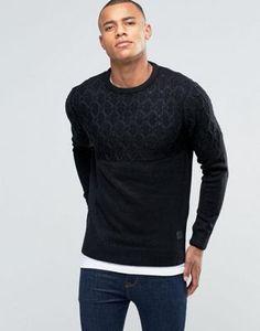 Brave Soul Diamond Jacquard Panel Sweater