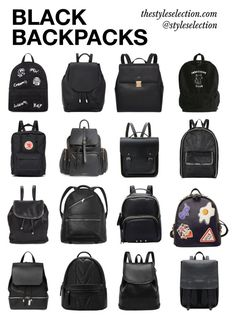 """Black backpacks"" by ferned on Polyvore featuring rag & bone, Mini Cream, Fjällräven, Topshop, The Cambridge Satchel Company, STELLA McCARTNEY, Monki, WithChic and COSTUME NATIONAL"