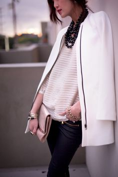 Love the play of shapes and textures in this get-up.  Bonus points for the tangled statement necklace.