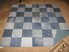 denim quilts   Recycled Denim Throw Quilt (with your choice of fleece color backing ...