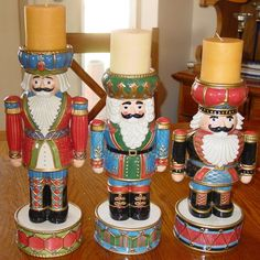 Large Fitz & Floyd Nutcracker Candle Holder Set - Three! Must See!!