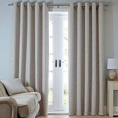 Complete with a woven textured effect in soft, natural tones these fully lined Boucle curtains are designed with a modern eyelet header and come in a choice of widths and drops. Dunelm, Curtain Inspiration, Natural Eyelet Curtains, Curtain Sizes, Cream Curtains, Lounge, Modern Curtains, Home Decor, Room