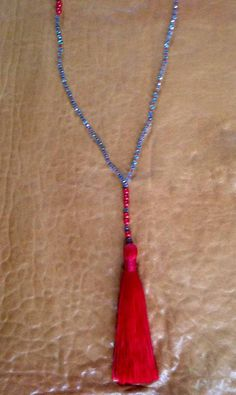 Red and Baby Blue Tassel Necklace by ShopElectricBuffalo on Etsy