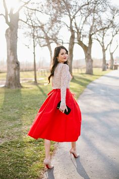 Red midi skirt lace top