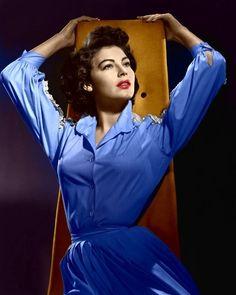 Ava Gardner in a blue dress...