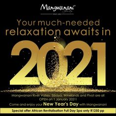 Book your New Year's Day relaxation at Mangwanani! Enjoy a full day spa package for just R1250 pp. This package includes breakfast, beverages, lunch with delicious desserts, use of the facilities and 6 spa therapies. To book, call 0878090055. Spaces are limited! Spa Therapy, Spa Packages, Watch This Space, Spa Day, Delicious Desserts, Acting, Beverages, Relax, Lunch