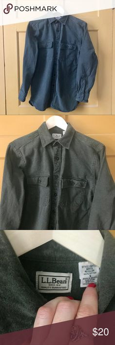 "Men's cotton flannel shirt L.L.Bean hunter green  EUC: zero rips or stains.... see photos for very minor wear shown on cuff Size small: 21"" armpit to armpit// 29"" Body length Sleeves= 24"" along top// 18"" along underside L.L. Bean Shirts Casual Button Down Shirts"