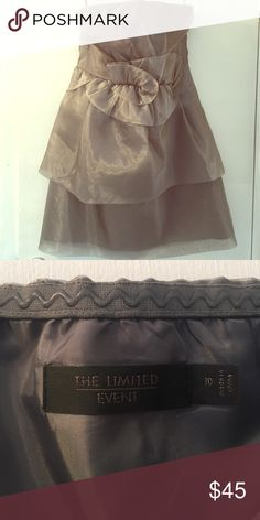 Strapless organza dress from The Limited Strapless, silver - layered skirt. Cute detail at waist. Worn once. The Limited Dresses Midi