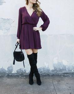 Wine colored skater dress and black over the knee boots #ontheblog #overthekneeboots