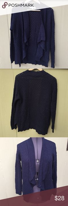 """Ann Taylor Loft navy blue knit open front sweater Ann Taylor Loft navy blue knit open front sweater, brand new without tags, women's size large, measures 42"""" bust, 40"""" waist, 23"""" length shoulder to hemline. Super soft stretchy knot material. Ann taylor loft Sweaters Cardigans"""