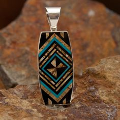 David Rosales Turquoise Creek Diversion Inlaid Sterling Silver Pendant