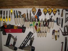 Art, Jewelry, and Polymer Clay Studio- ideas on how to organize different things. - PVC tool holders for the wall.