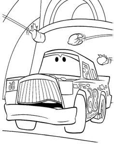 cartoon car sad coloring page
