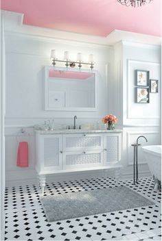 Love this idea for a girls bathroom pink ceiling. I have a pink ceiling actually. Bad Inspiration, Bathroom Inspiration, Bathroom Styling, Bathroom Interior Design, Bathroom Designs, Plafond Rose, Bad Styling, Sweet Home, Colored Ceiling
