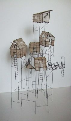 Get students to recreate iconic arcitecture in wire and waxed rice paper - image inspiration: sculpture by Isabelle Bonte - Drawings Architecture Sculptures Sur Fil, Art Sculpture, Sculpture Lessons, Wire Sculptures, Land Art, Stylo 3d, Art Fil, Instalation Art, 3d Pen