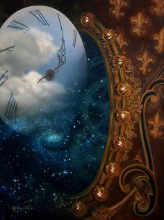 "Gorgeous steampunk, fairytale clock painting by Byron Coon: ""Timeless"" Creation Image, Creation Art, Fantasy Kunst, Fantasy Art, Fantasy Drawings, Surreal Art, Fantasy World, Diy Art, Mystic"