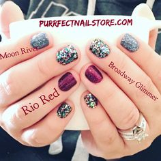 Rio Red, Moon River, Broadway Glimmer- Color Street 100% real nail polish nail strips. No mess!