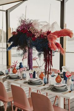 Bright pink floral installation over tablescape to inspire your colourful wedding. Marie's Wedding, Surfer Wedding, Wedding Table, Wedding Flowers, Green Wedding, Wedding Shoes, Modern Wedding Reception, Eclectic Wedding, Wedding Music