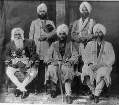 First Row : Maharaja Hira Singh, Tikka Ripudaman Singh and Bhai Kahan Singh Nabha  Standing: Nihal Singh & Munshi Faiz Bakht