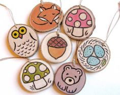 Woodland Charms Set/Party favor necklaces/gift tags/ornaments/child's room decor
