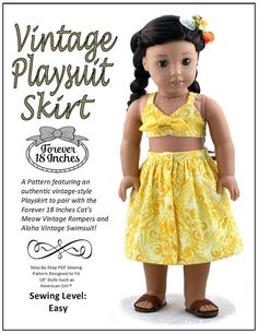 Pixie Faire Forever 18 Inches Vintage Playsuit Skirt Doll