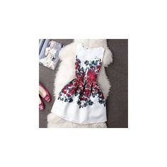 Sleeveless Printed Jacquard Dress (405 CZK) ❤ liked on Polyvore featuring dresses, women, mixed print dress, zipper back dress, pleated dress, print dress and white jacquard dress