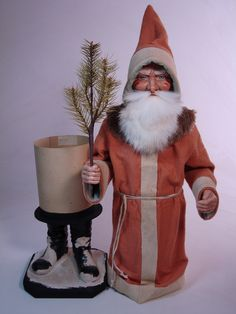 23 inch Paper mache German Santa candy container by Paul Turner studio