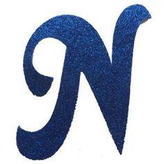 Letra Cursiva em Gliter - N - Azul