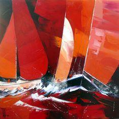 PEINTURE : PIERRICK TUAL - BON VENT 2 Galerie D'art, Main Theme, Art Plastique, Sailboat, Printmaking, Images, Abstract Art, Fantasy, Sea
