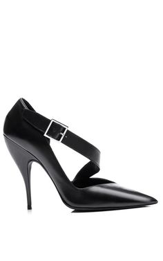 This pointed toe Narciso Rodriguez pump features a wide belt-style cross strap with an elastic inset at the vamp and a tonal covered sculpted stiletto heel. Stiletto Shoes, High Heels Stilettos, Fancy Shoes, Me Too Shoes, Rings N Things, Narciso Rodriguez, Fashion Shoes, Women Accessories, Kitten Heels
